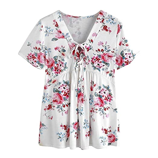 Teresamoon Floral Print T-Shirts Womens Short Sleeve Casual Blouse Tops (White, ...