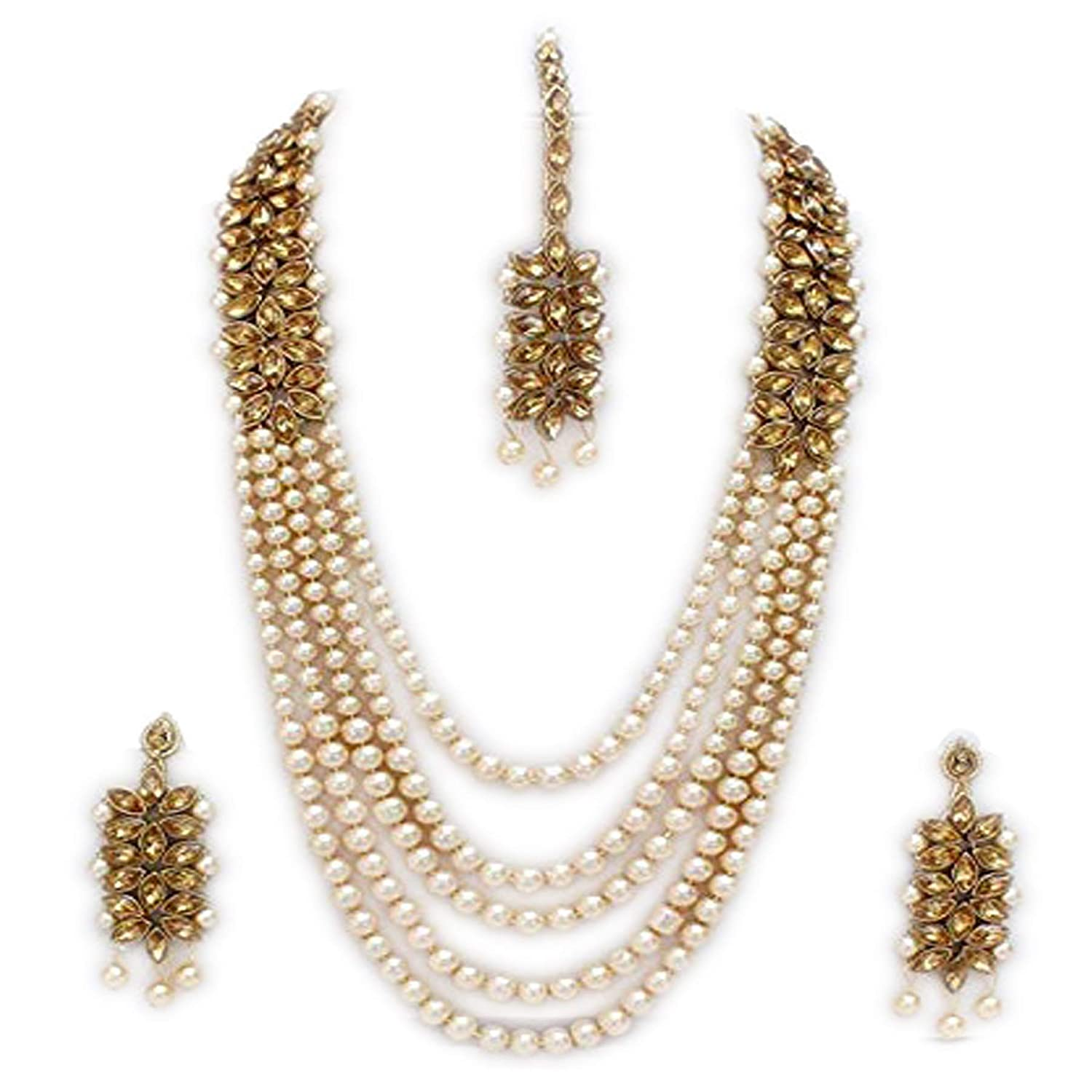 Buy Sadhana Collection Gold Traditional Kundan Pearl Necklace Set