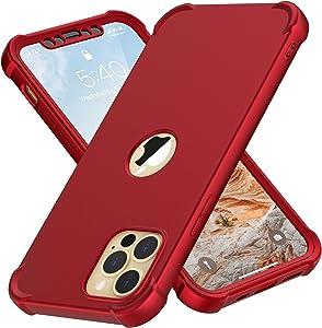 Designed for iPhone 12 Pro Max Case, ORETech Compatible with iPhone 12 Pro Max Case with [2 x Tempered Glass Screen Protector]360° Heavy Duty Hard PC Silicone Case for iPhone 12 Pro Max Case 6.7''Red