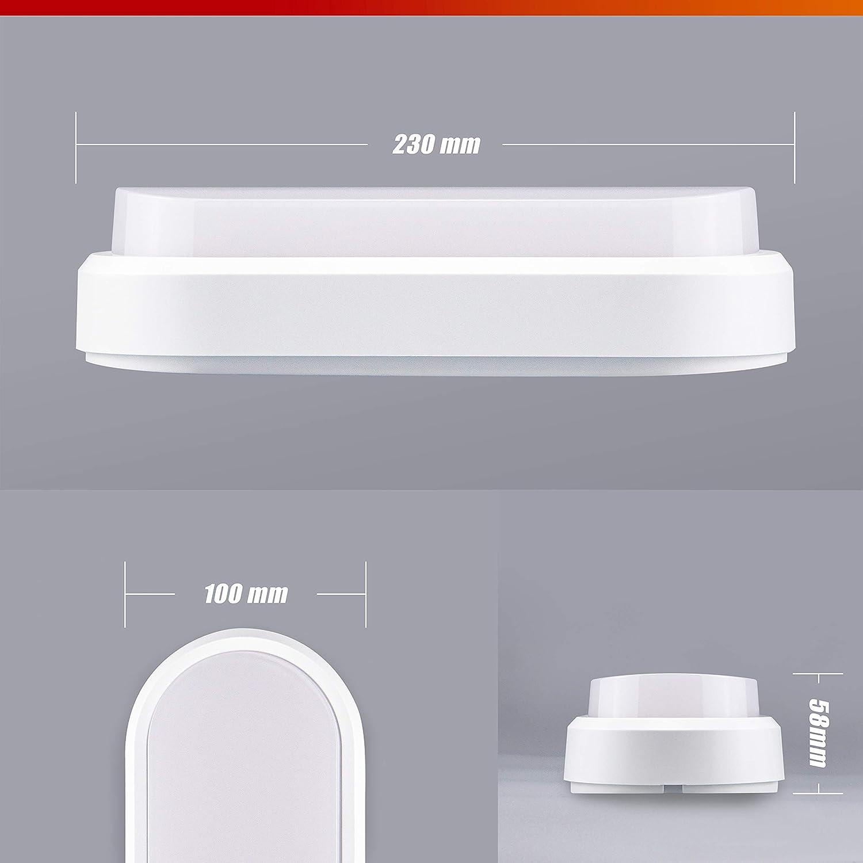 POPP/®Apliques lamparas de techo LED bulkhead blanco redondo ovalado 8W 12W 16W Luz neutra 4000K interior exterior IP65 para ba/ño Cocina Balc/ón Pasillo Ovalado, 8 Watios