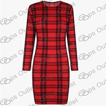 434d8f55455c6e Be Jealous Femmes Imprimé Tartan Écossais Legging Ceinture Robe ...