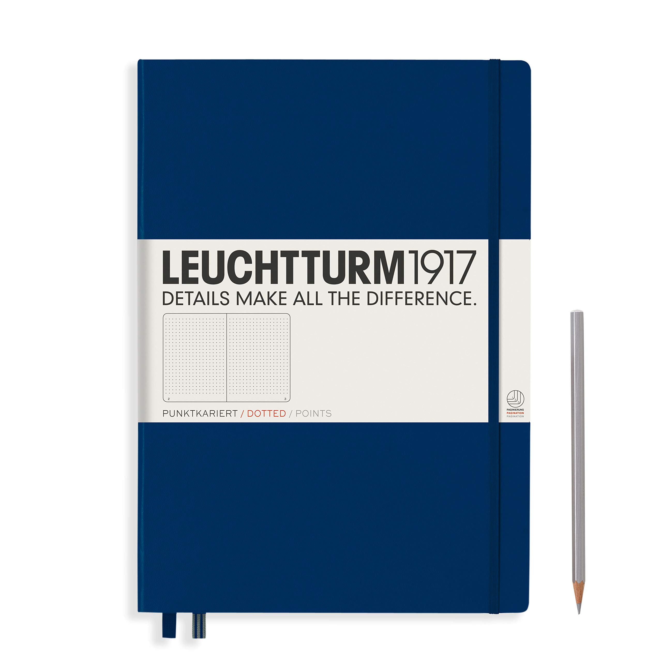 Leuchtturm1917 Master A4 Plus Dotted Hardcover Notebook- 233 Numbered Pages, Navy by LEUCHTTURM1917