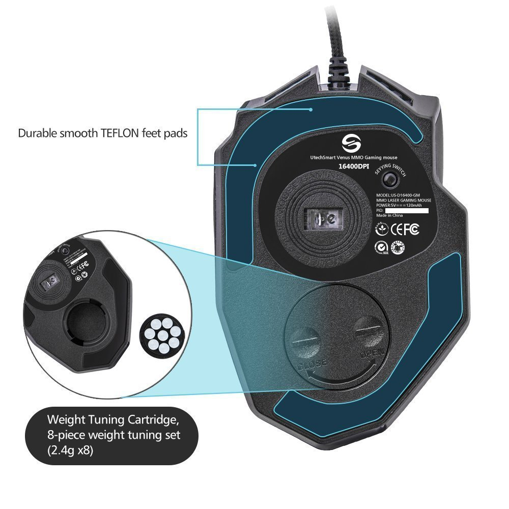 UtechSmart Venus 16400 DPI High Precision Laser MMO Gaming Mouse by UtechSmart (Image #5)