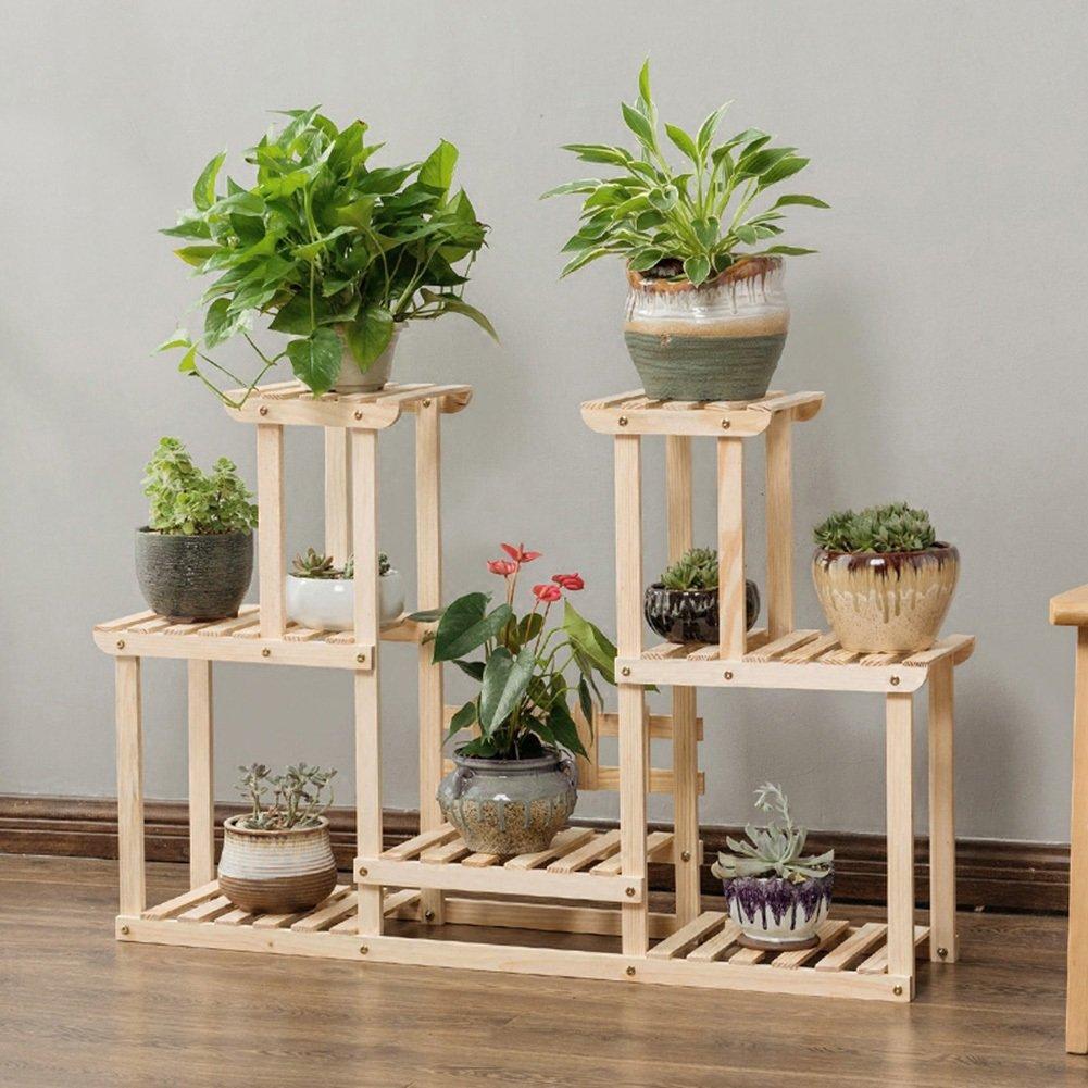 LXLA- Espositore da terra in legno a più strati con scaffali per vasi da fiori per balconi Espositore da interno e da esterno 110 × 25 × 71 cm (colore   colore primario)