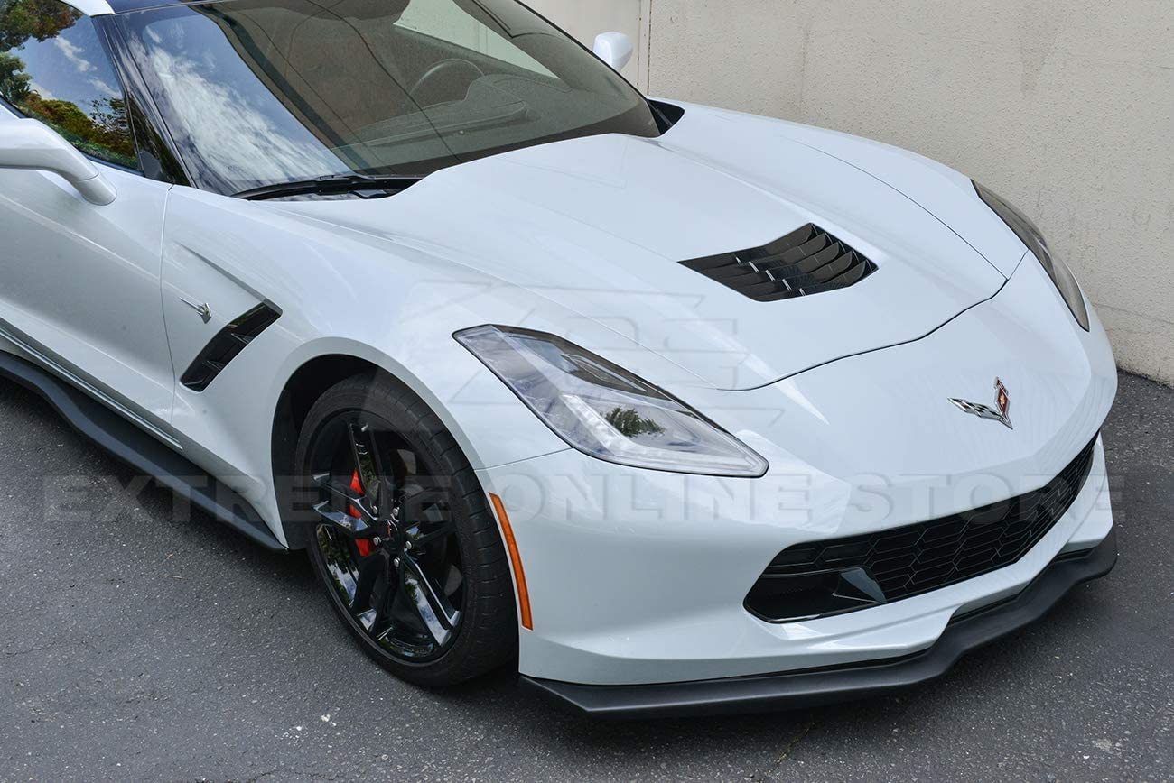 Replacement For 2014-2019 Corvette C7 ABS Plastic - Painted Carbon Flash Metallic Z06 Stage 2 Front Bumper Lip Splitter With Side Skirts Rocker Panels /& Rear Spoiler Full Assembly Combo Kit