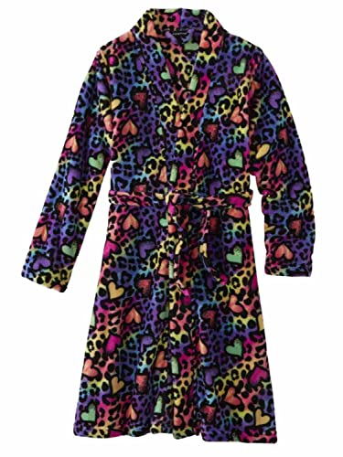 Amazon.com  Girls Rainbow Heart Leopard Print Bathrobe Bath Robe Cheetah  House Coat XS  Clothing 90930c45b