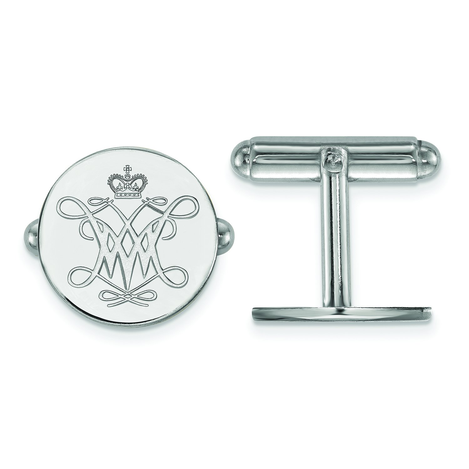 LogoArt Sterling Silver William and Mary Cuff Link