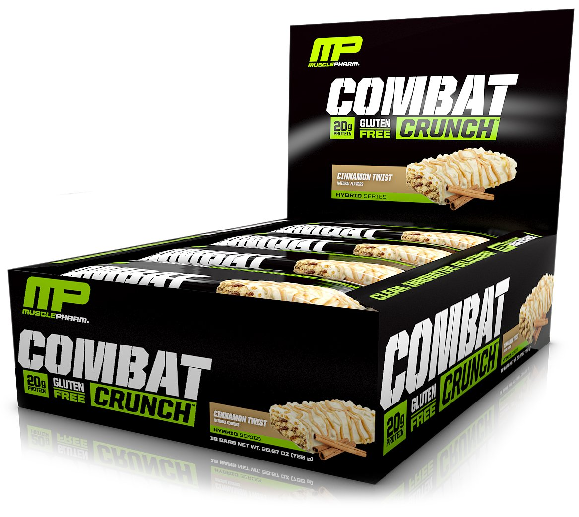 MusclePharm Combat Crunch Protein Bar, Multi-Layered Baked Bar, 20g Protein, Low Sugar, Low Carb, Gluten Free, Cinnamon Twist, 12 Bars