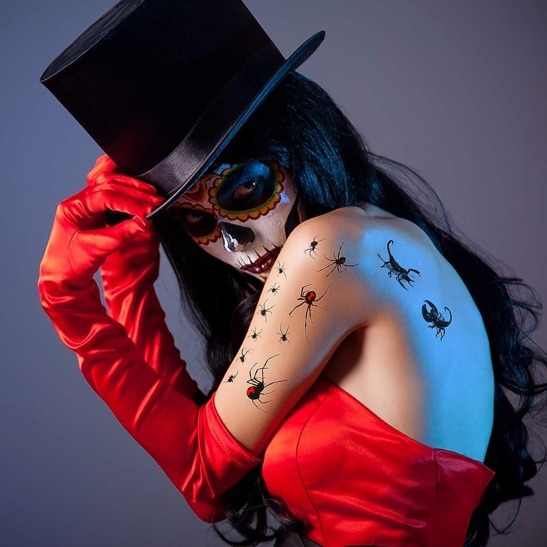 Mosquito Spinner Halloween Tattoo Ara/ña Tatuaje Temporal KATOOM 6 Hojas Tatuajes Temporales de Ara/ña Suministro de Decoraci/ón para Fiestas Tem/áticas Escorpi/ón Tatuaje Aterrador Impermeable 3D