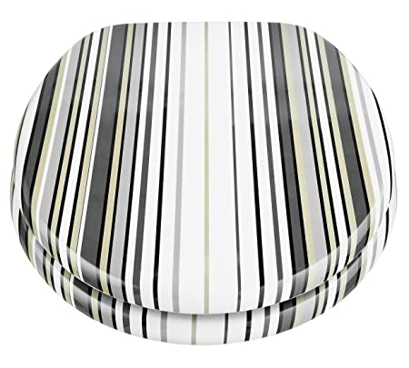 Astonishing Home Stripe Toilet Seat Black And White Amazon Co Uk Short Links Chair Design For Home Short Linksinfo