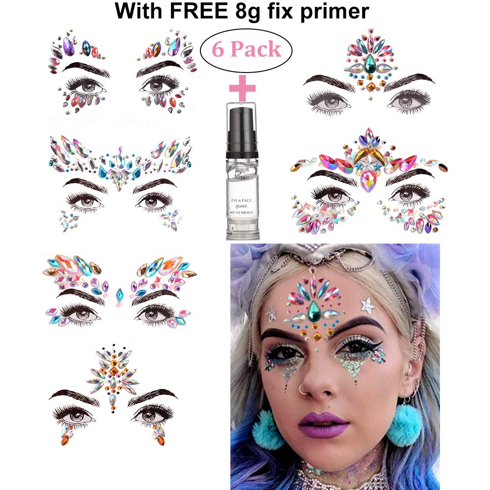 HITOP Face Jewels, 6 Pack Mermaid Tattoos with Gel, Rhinestone Rave Body Jewels Festival Face Gems Christmas Party Favors for Girls Women