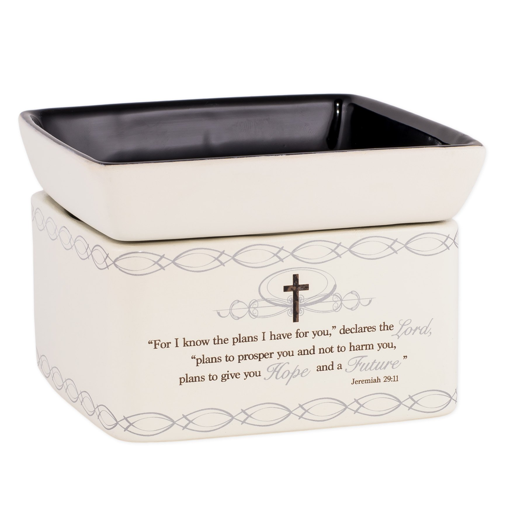 Elanze Designs For I Know the Plans I Have For You Jeremiah 29:11 Ceramic Stone 2-in-1 Tart Wax Oil Candle Warmer