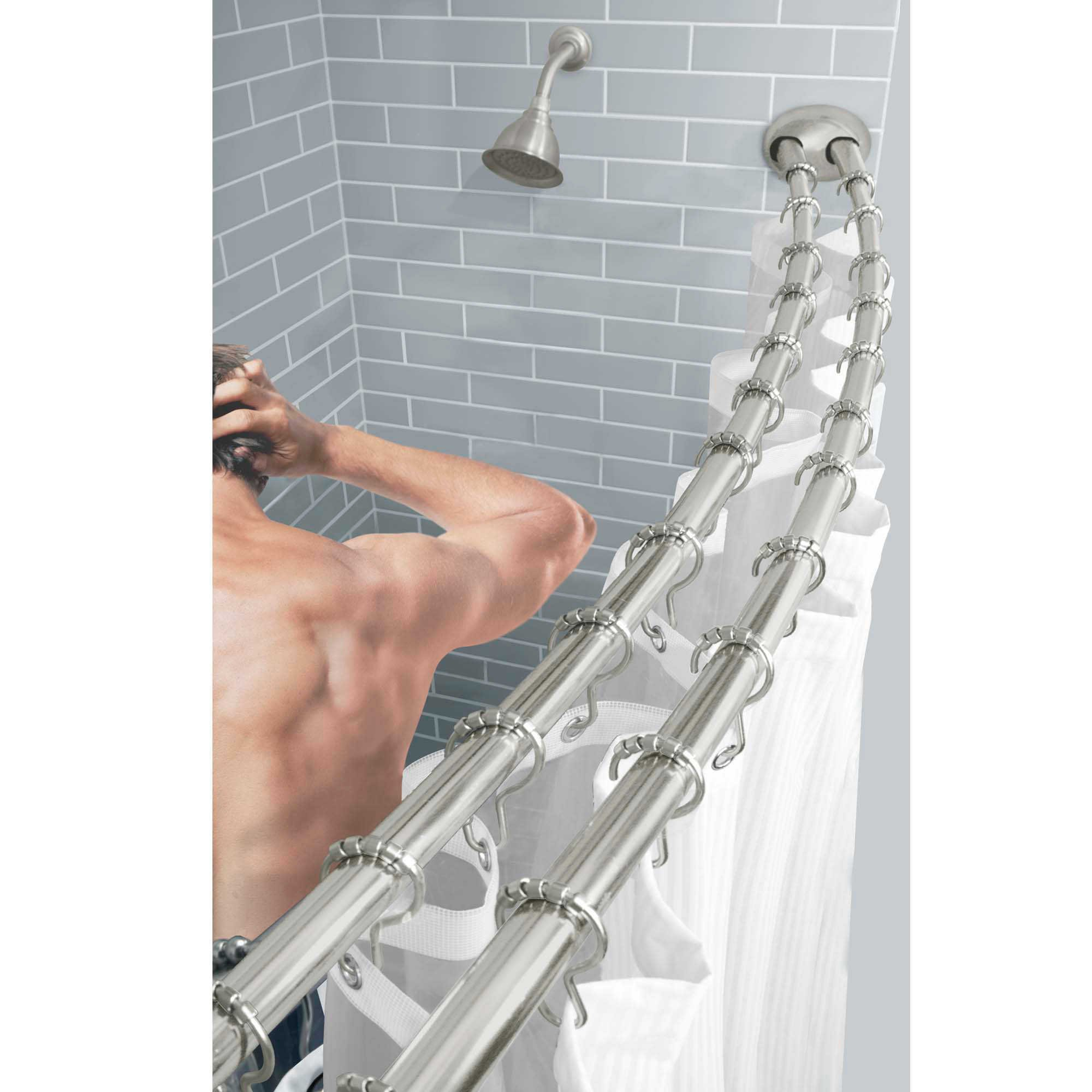 TITAN™ Stainless Steel Dual Install Double Curved Shower Rod in Brushed Nickel