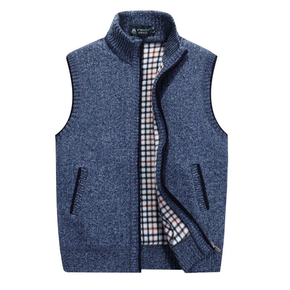 XinYangNi Men's Solid Color Sweater Vest Blue US L/Asia 2XL by XinYangNi