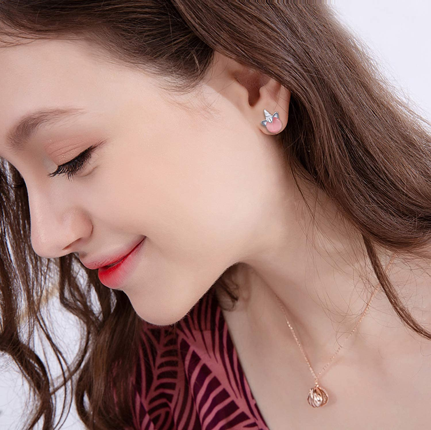 Hypoallergenic Stud Earrings for Young Women-Unique Fairy earrings Faux Pearl Earrings Pink CZ Cat Stud Earrings for Teens #2 HYZ 30 Pairs Assorted Stainless Steel Stud Earrings for Teen Girls