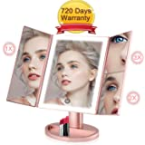 Makeup Mirror Lights Trifold Makeup Mirror 36 Led Vanity Mirror with 2X/3X Magnification wowatt Lighted Three-sided Mirror Rose Gold Touch Screen Battery & USB Dual Power Supply Brightness Adjustable