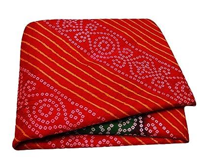 PEEGLI Mujeres De Moda Saree Bandhani Impreso Rojo Abrigo Reciclado Vestido De Seda Mezcla Arte Decoración