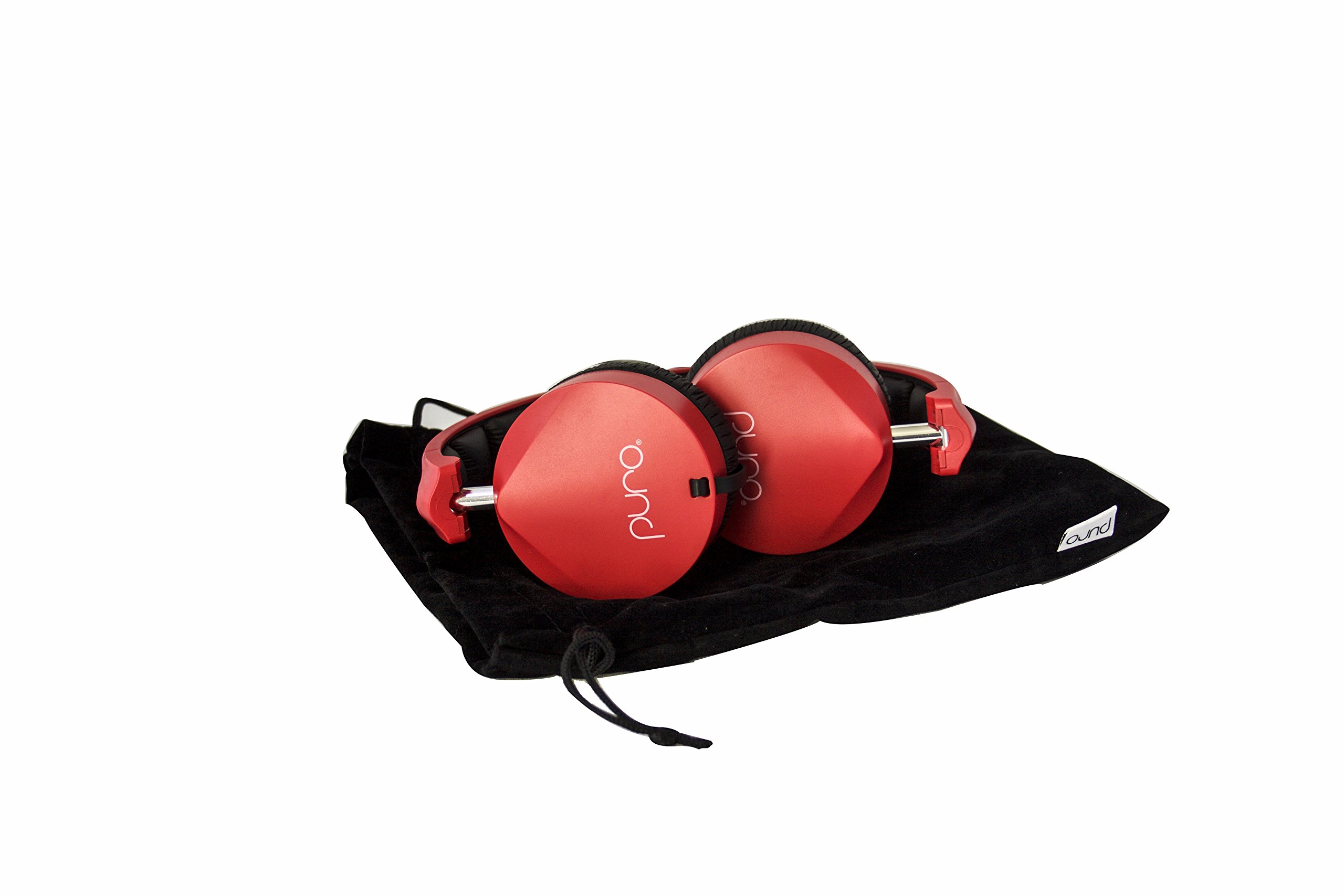 Puro Sound Labs OEH200 Over-Ear Headphones Kids Students Foldable Earphones with Volume Limiting, Noise Isolation, Microphone, Lightweight and Water-Proof for Apple iPhone and Android - OEH200 Red