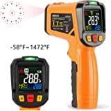 Infrared Thermometer AIDBUCKS AD6530B Digital Laser Non Contact Cooking IR Temperature Gun -58°F to 1472°F with Color Display 12 Points Aperture for Kitchen Food Meat BBQ Automotive and Industrial