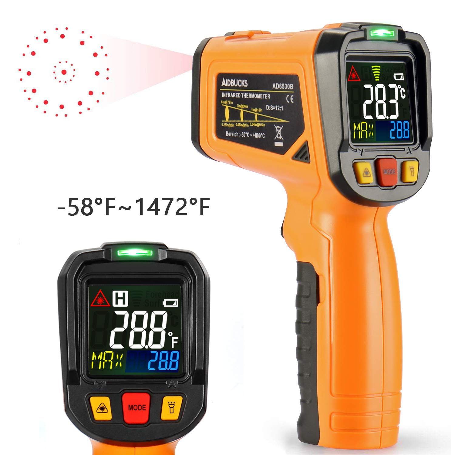 Infrared Thermometer AIDBUCKS AD6530B Digital Laser Non Contact Cooking IR Temperature Gun -58°F to 1472°F with Color Display 12 Points Aperture for Kitchen Food Meat BBQ Automotive and Industrial by AIDBUCKS