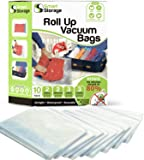 Roll-Up Storage Bags 10 PC   Vacuum Bags & Roll-Up Space Saver Bags Variety Pack   Vacuum Bags for Clothes, Bedding & Travel   No Pump or Vacuum Required   Zip & Roll Hand Vacuum Bags by Smart Storage