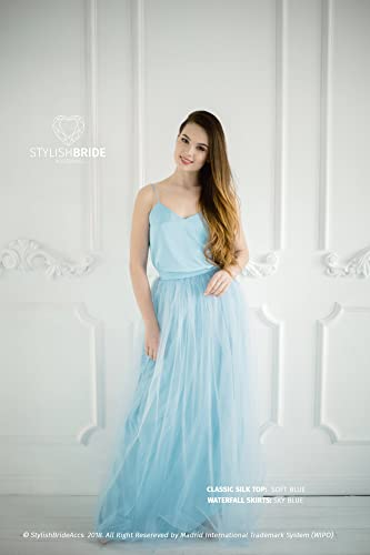 19711a089 Amazon.com: Sky Blue #11 Tulle Dress with Blue Silk Classic Cami Top, Sky  Blue Long Floor Length Waterfall Skirt, Simple Engagement Dress: Handmade