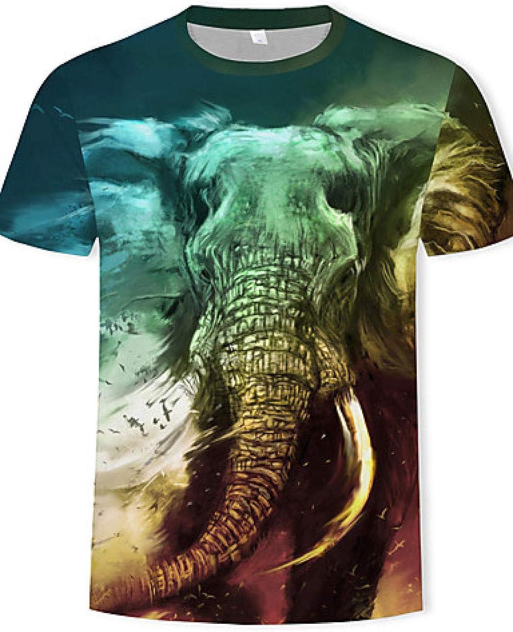 Camiseta de algodón de Talla Grande para Hombre - 3D / Animal Print Round Neck Green XXXL @ Green_XXXL: Amazon.es: Ropa y accesorios