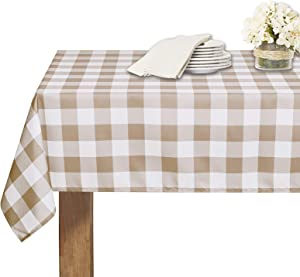RYB HOME Checked Table Cloth - Waterproof Scratch Wrinkle Resistant Washable Polyester Farmhouse 6-8 Seats Tablecloth for Kitchen Banquet Living Room, Taupe Checkered, 60 x 102