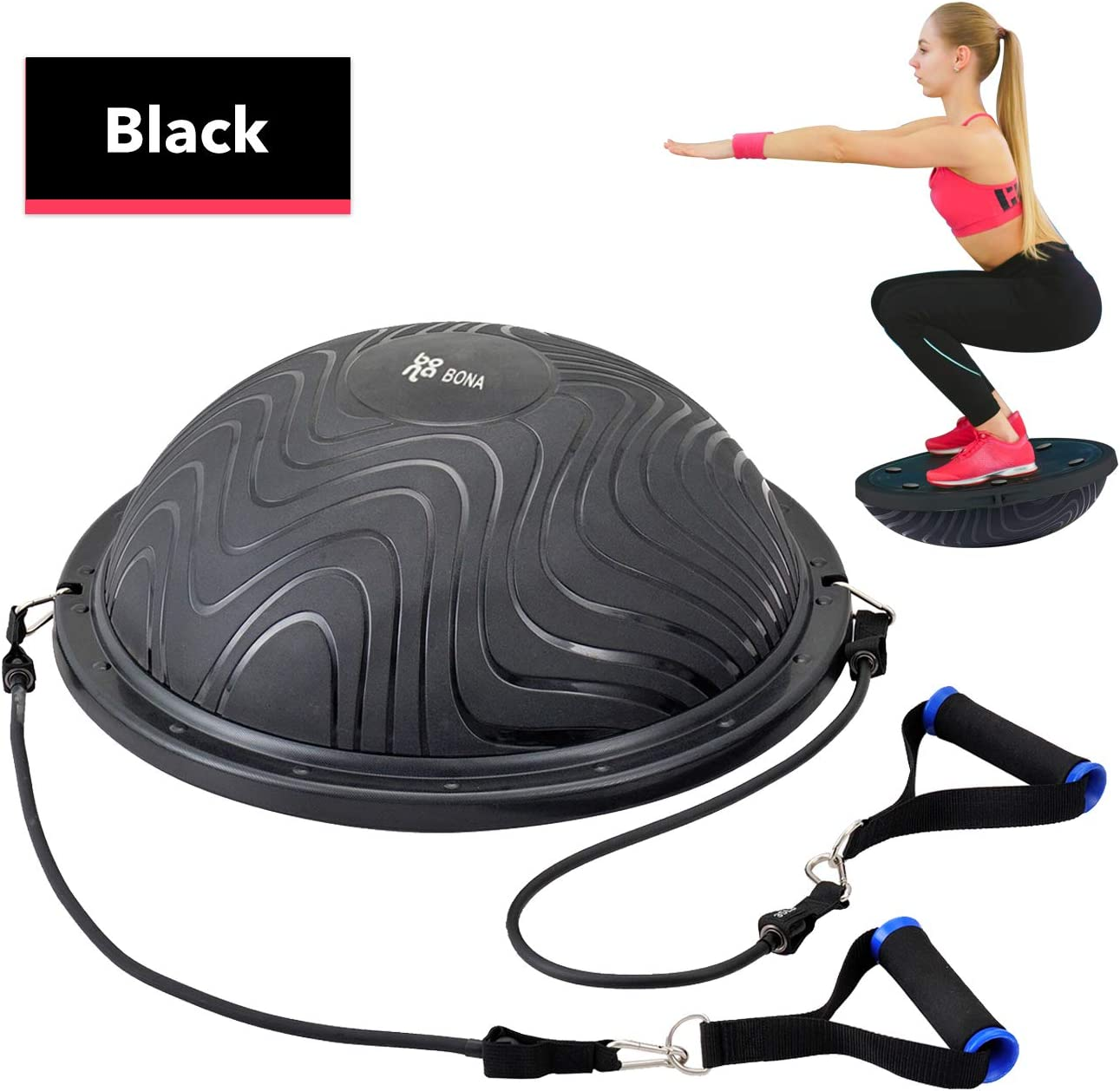 Newbona Balance Ball Trainer with Exercise Handles, Resistance Bands, Pump Door Anchors