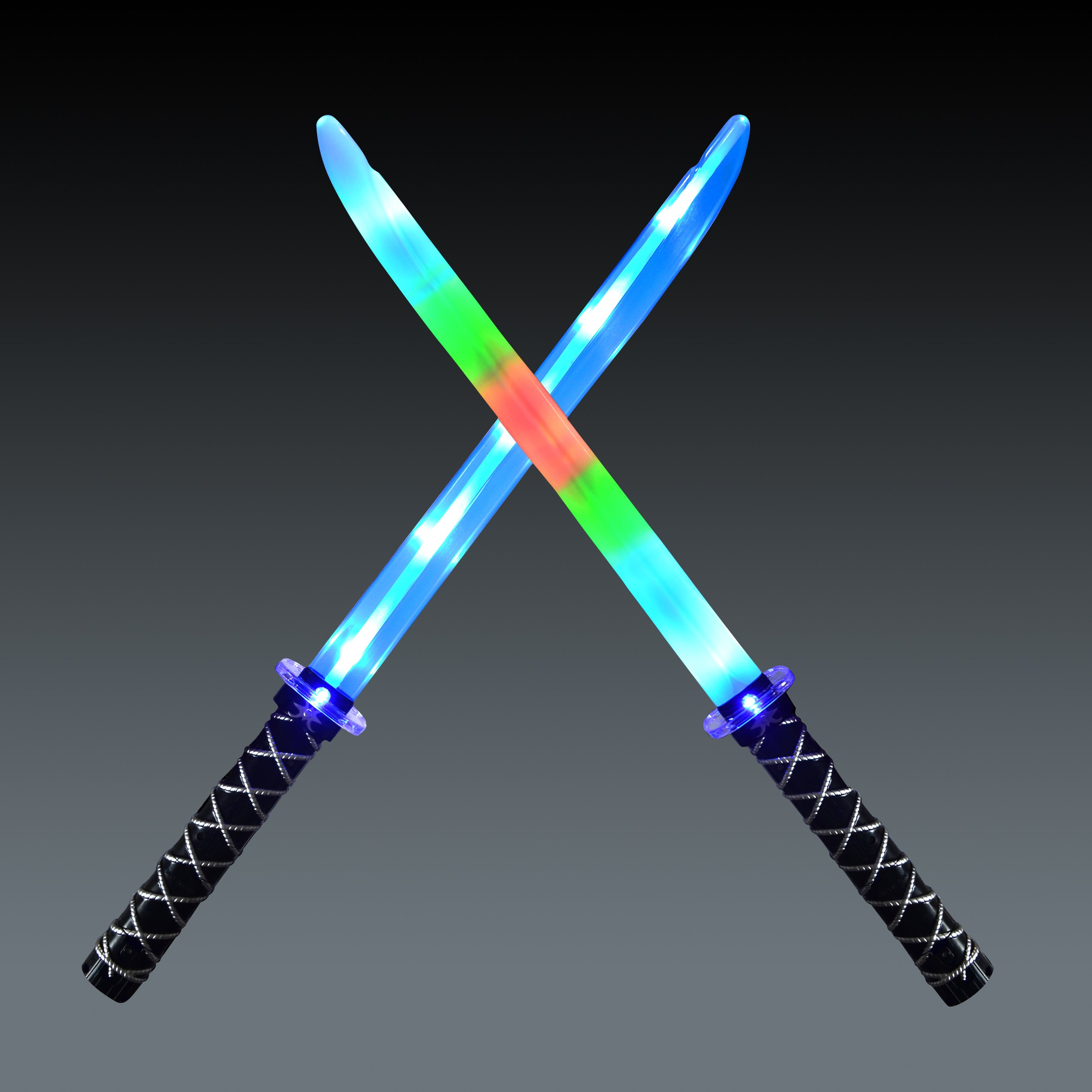 Joyin Toy 2 Deluxe Ninja LED Light Up Swords with Motion Activated Clanging Sounds – Bright Blue and Multi Color Sword for Halloween Party, Costume Accessories