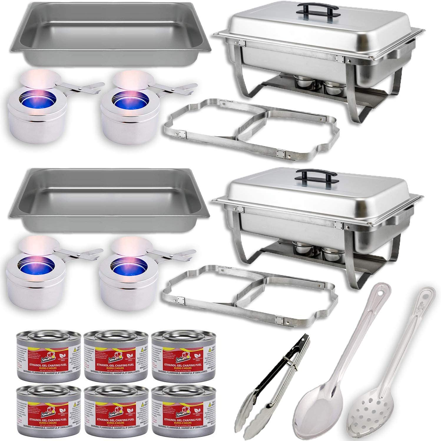 Chafing Dish Buffet Set w/Fuel — Folding Frame + Water Pan + Food Pan (8 qt) + 4 Fuel Holders + 6 Fuel Cans + 3 Serving Utensils (15