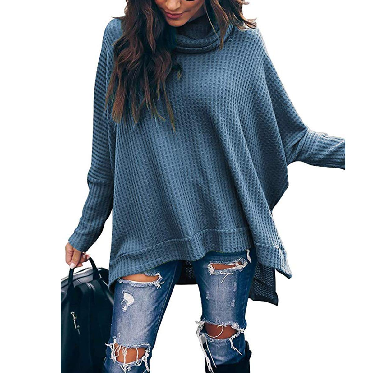 Women Turtle Cowl Neck Long Batwing Sleeve Waffle Knit Pullover Sweaters Oversized Loose Fit High Low Tunic Tops
