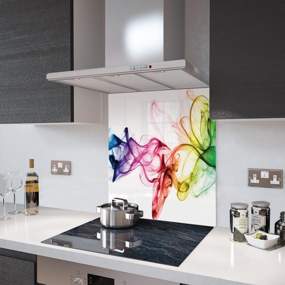 Premier Range - Rainbow Smoke on White - Glass Splashback - 60cm Wide x 75cm High