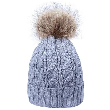 cc434057696 ANVEY Fluffy Bobble Hat Knit Beanie Faux Fur Pom Pom Soft Fleece Lined  Grey  Amazon.co.uk  Clothing