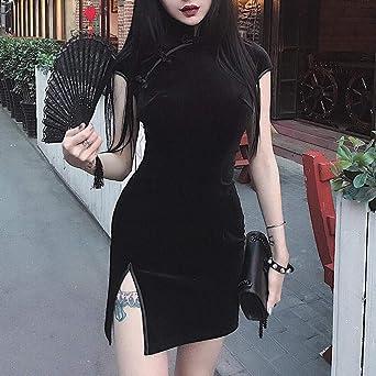 Sonojie elegancka sukienka vintage damska gotycka punk chińska chińska szezlong Harajuku podkreślająca figurę sukienka Vintage split sukienka retro sukienka na imprezy: Odzież