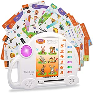 Kids Educational Toys, 60pcs Cards Electronic Preschool Early Interactive Learning Food, Animal,Color Pads Tablet Toddler Toys for 3 4 5 6 Years Old Boy Girl