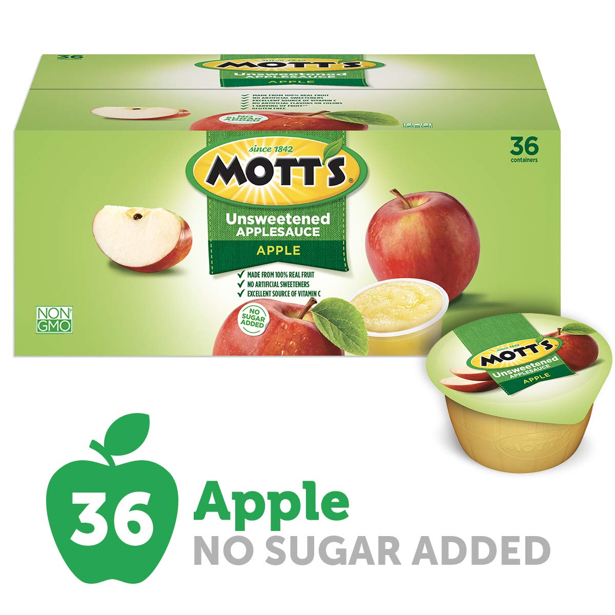 Mott's Unsweetened Applesauce, 3.9 Ounce Cup, 36 Count (Pack of 1), 140.4 Ounce