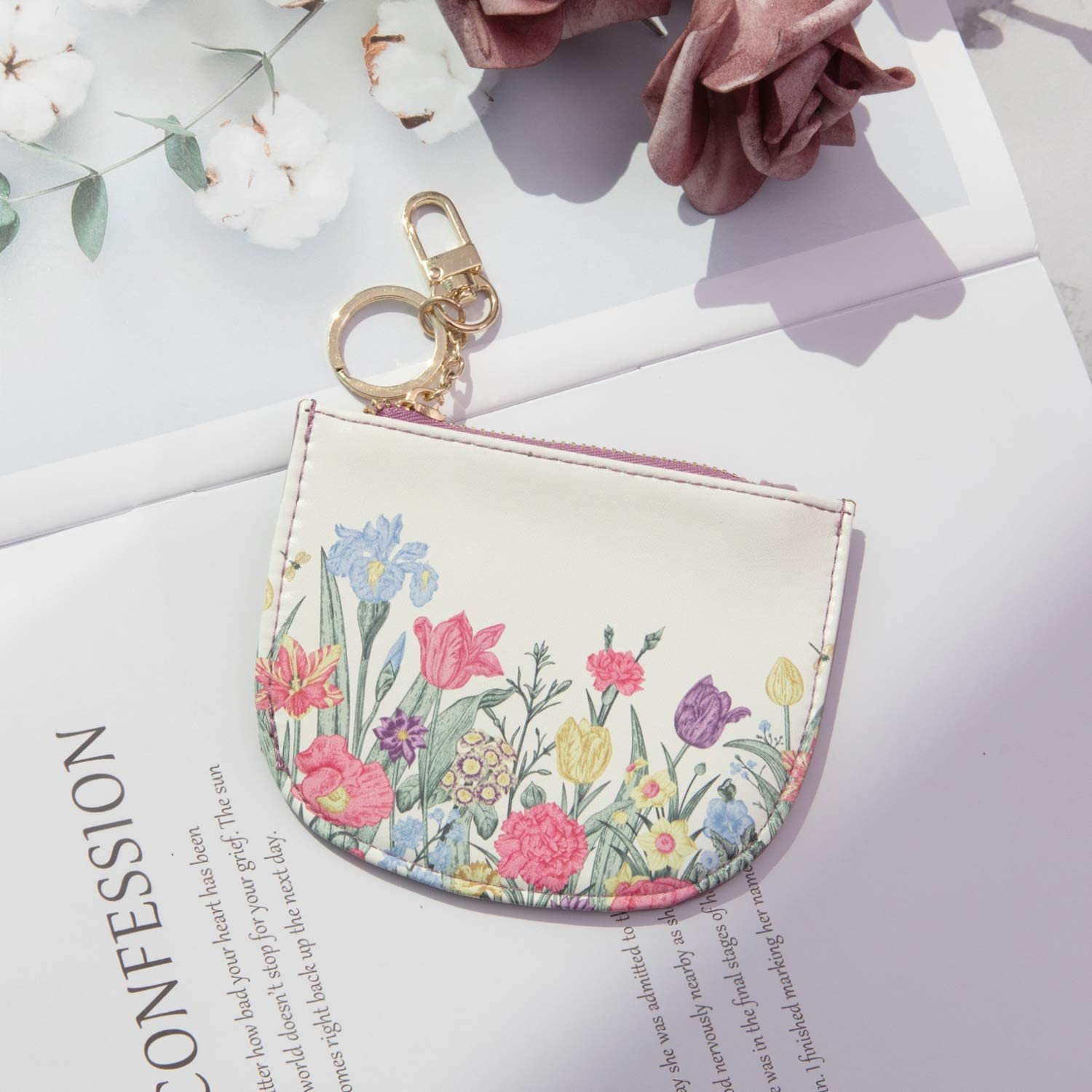 Rose Lake Coin Purse Change Card Case Wallet With Keychain Soft Leather Mini Zipper Pouch Women Girls Gift