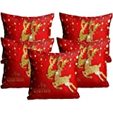 Merry Christmas Cushion Cover in Jute Fabric Set of 5 Size-(16X16 Inches)