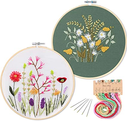 Daisy Stamped Cross Stitch Kits for Adults Embroidery Flower Patterns Crafts
