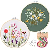 2 Pack Embroidery Starter Kit with Pattern, Kissbuty Full Range of Stamped Embroidery Kit Including Embroidery Cloth with Pat