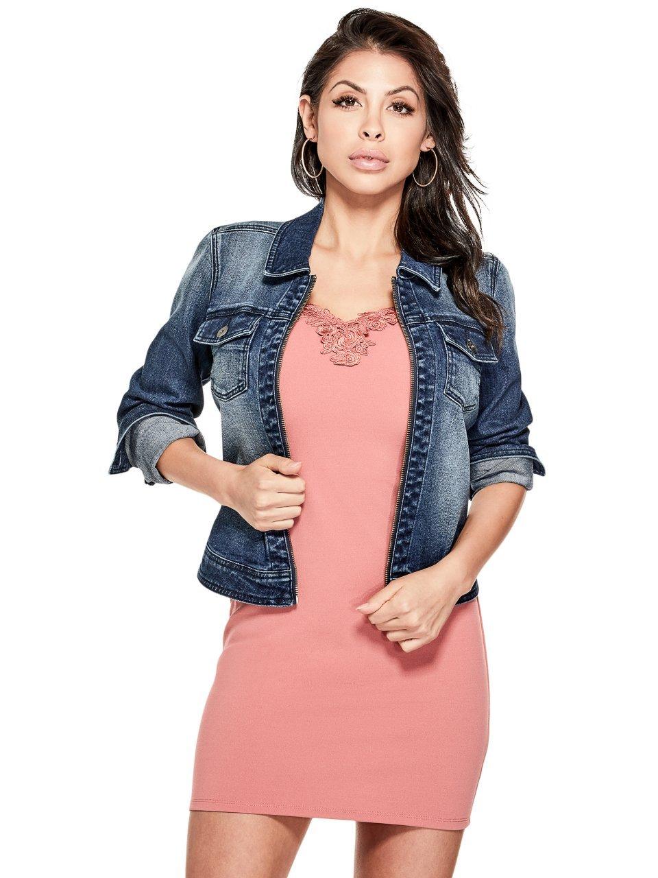 G by GUESS Women's Desiree Zip Collared Denim Jacket