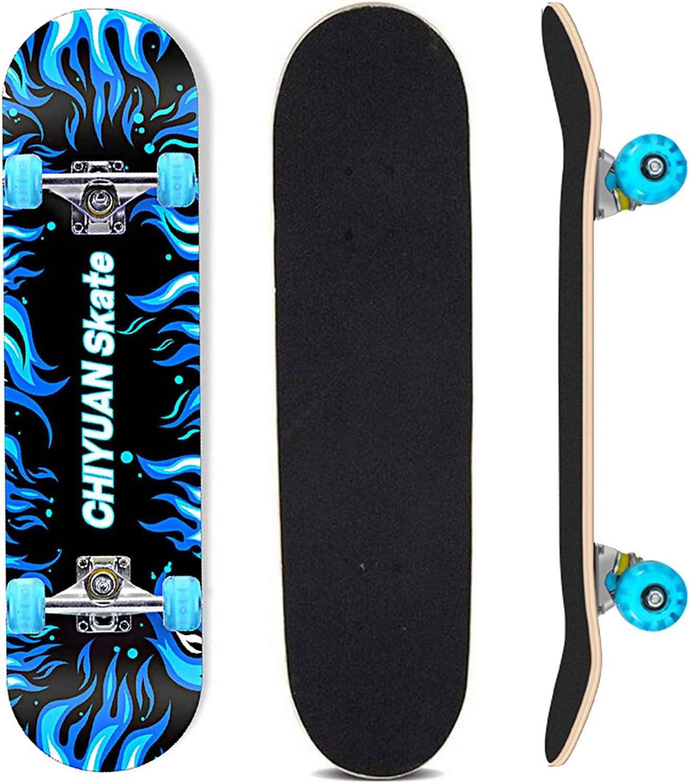 OK8 White Durable Wood Skateboard Complete 4 Wheels 31x8 Inch For Children