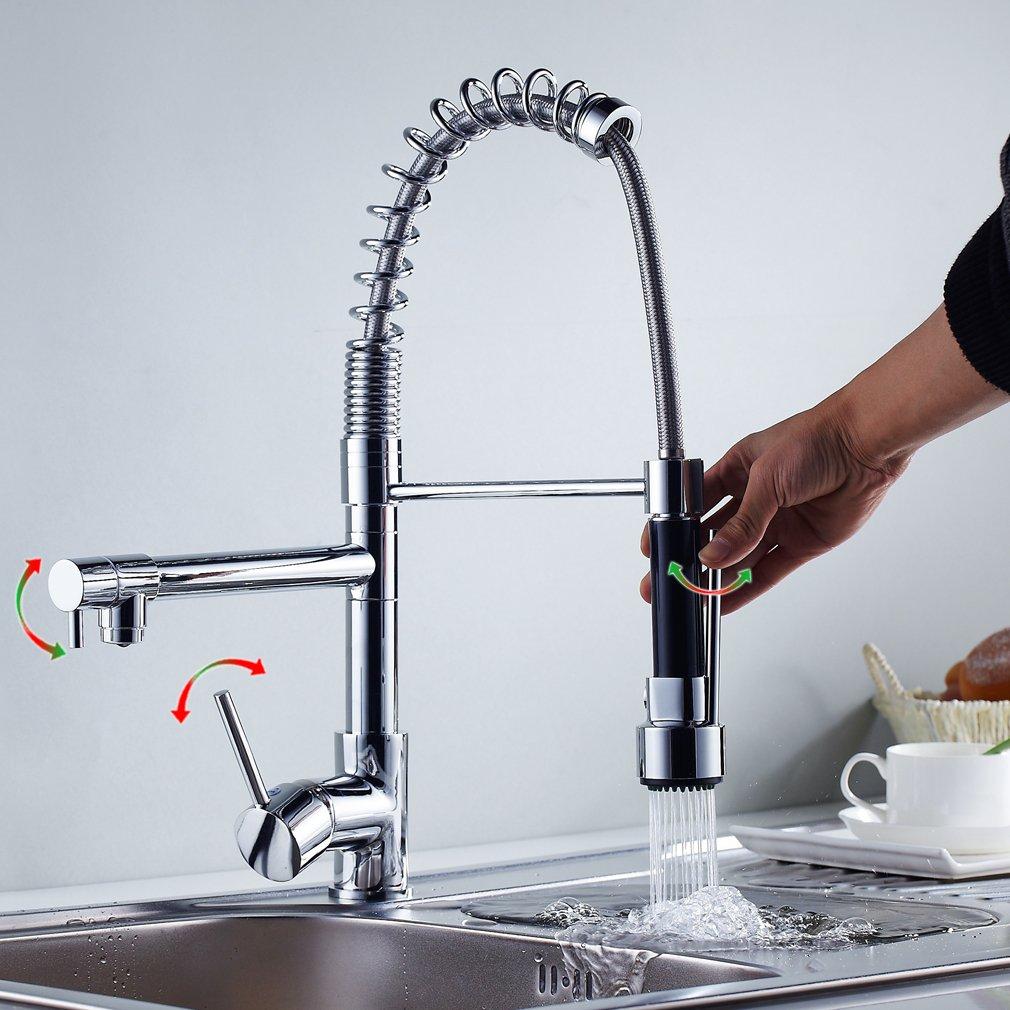 Auralum® Chrom Küchearmatur Spüle Waschtisch Armatur Mischbatterie ...