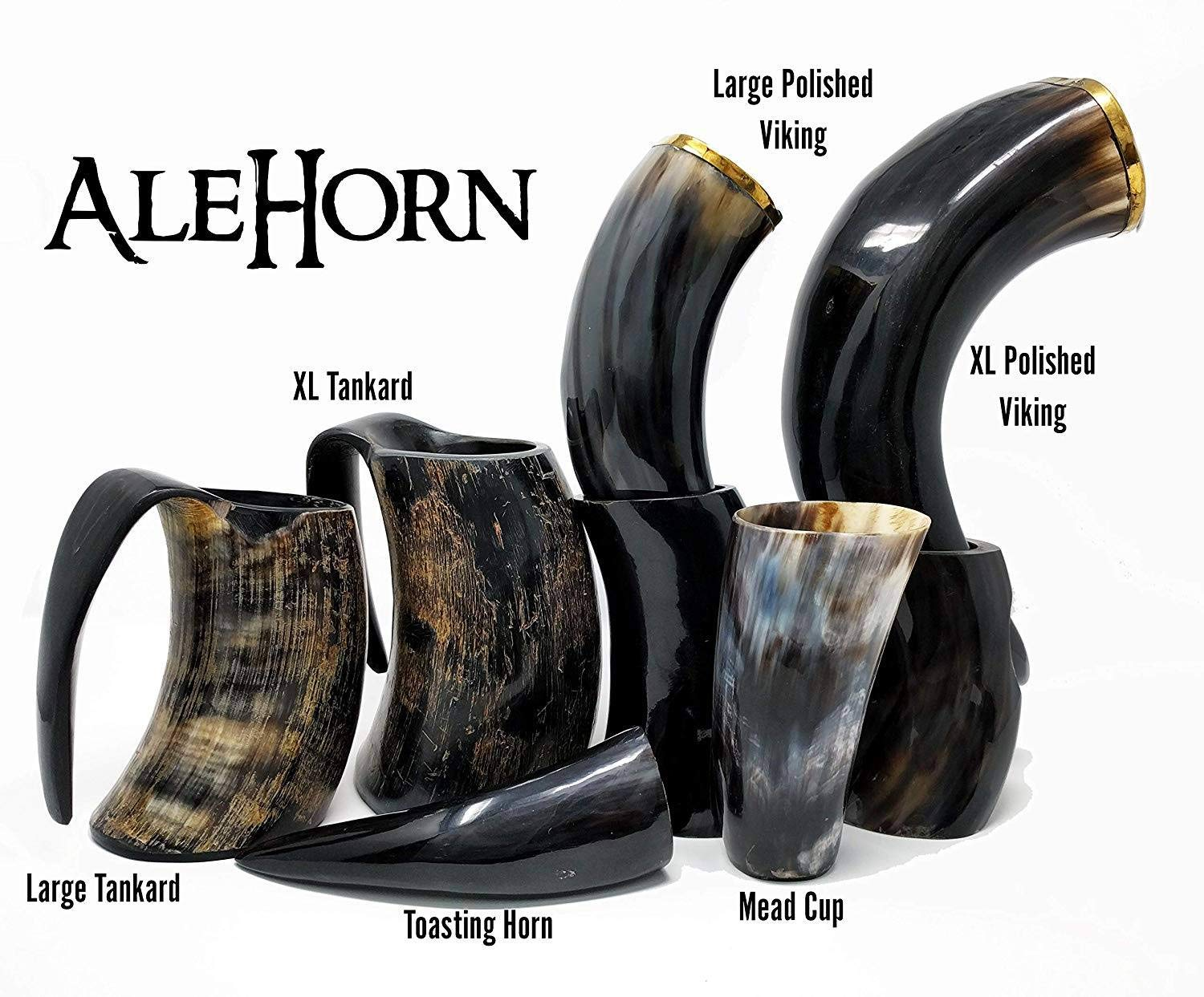 AleHorn – The Original Handcrafted Authentic Viking Drinking Horn for Beer, Mead, Ale – Medieval Inspired – Food Safe Vessel - Curved Style with Stand (12'' 4PK, Polished Horn)