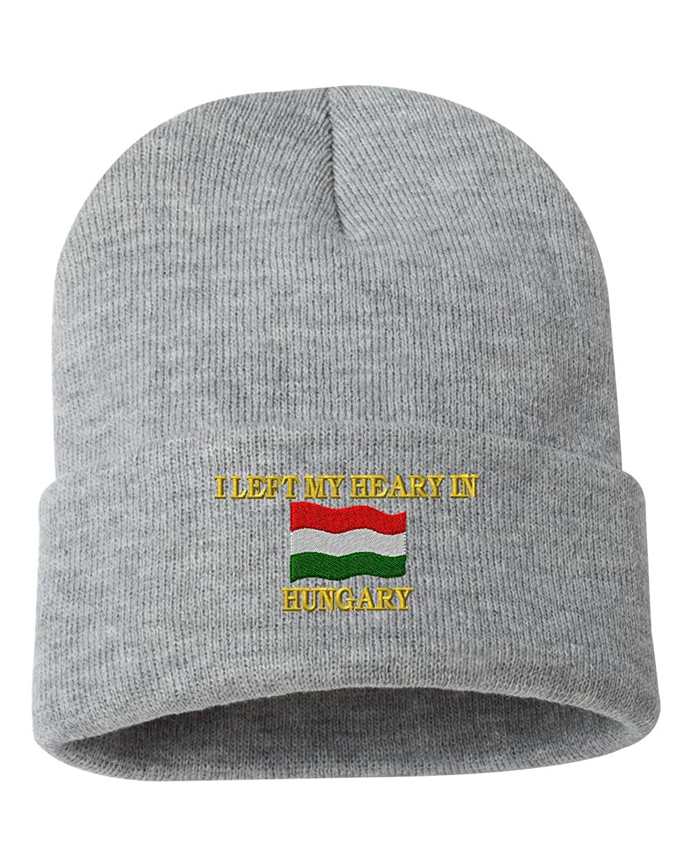 I LEFT MY HEARY IN HUNGARY Custom Personalized Embroidery Embroidered Beanie