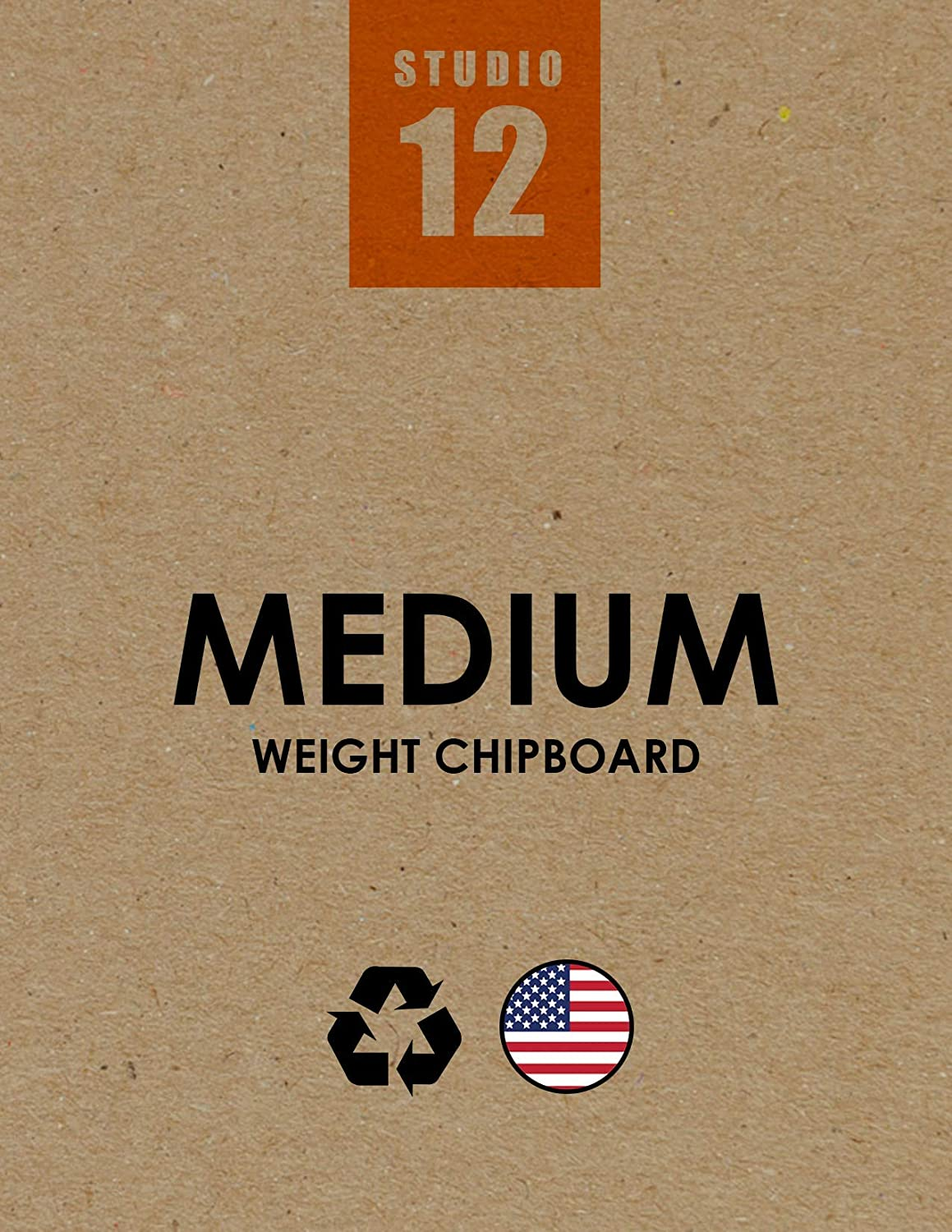 """Studio 12 Chipboard Sheets. Medium Weight. Natural Kraft Brown. Great for Model Building, Scrap Booking, Creative Projects and Protecting Valuable Photos and documents. (25 Sheets) (9"""" x 12"""")"""