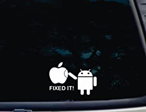 """Android Fixed IT! - 5 1/2"""" x 3 3/4"""" die Cut Vinyl Decal for Windows, Cars, Trucks, Tool Boxes, laptops, MacBook - virtually Any Hard, Smooth Surface. NOT Printed!"""
