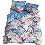 BeddingWish 布団カバー3点セット 寝具用品 通気性 シングル ボックスケース式 ベッド用 掛け布団カバーとボックスケースと枕カバー メルボルン(シングル 150x210cm)MEB-JJ-ST-GJN