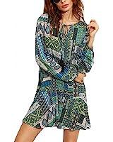 Womens Vintage Short Dresses Boho Ladies Autumn Green Ornate Patchwork Print Tie Neck Long Sleeve Shift Tunic Dress